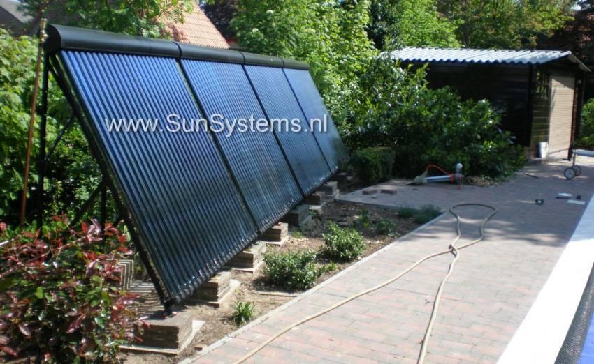 Home sunsystems vacuumbuis zonnecollectoren zwembad for Zwembad verwarmen